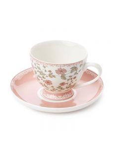 Set tazza con piattino rosa Sophie