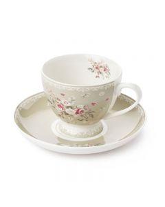 Set tazza con piattino tortora Sophie