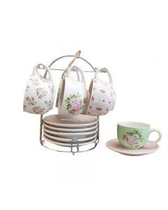 Set di 6 tazzine da tè Margaret con piattini ed espositore