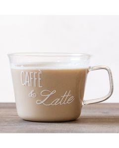 """Set 2 Tazze In Vetro 480ml """"Caffè e Latte"""""""
