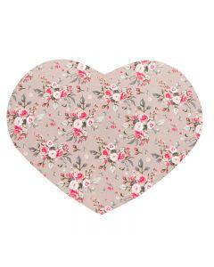 Tovaglietta a cuore con fiori rosa di Nuvole di Stoffa