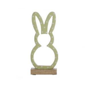 Coniglio In Legno a Pois Verde Piccolo