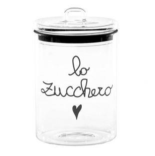 """Barattolo In Vetro """"Lo Zucchero"""" Nero"""