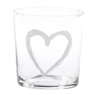 """Bicchiere Acqua In Vetro """"Cuore Graffiti"""""""